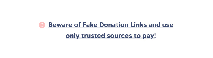 beware of fake donations links