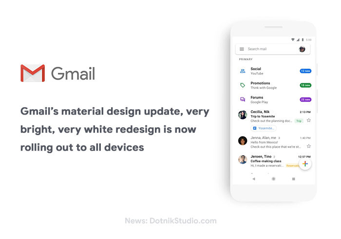 Gmail material design update white redesign